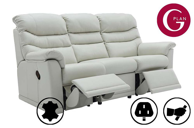 G Plan Malvern Leather 3 Seater (3 Cushion) Double Recliner Sofa