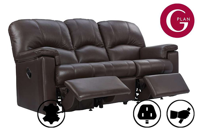 G Plan Chloe Leather 3 Seater Double Recliner Sofa