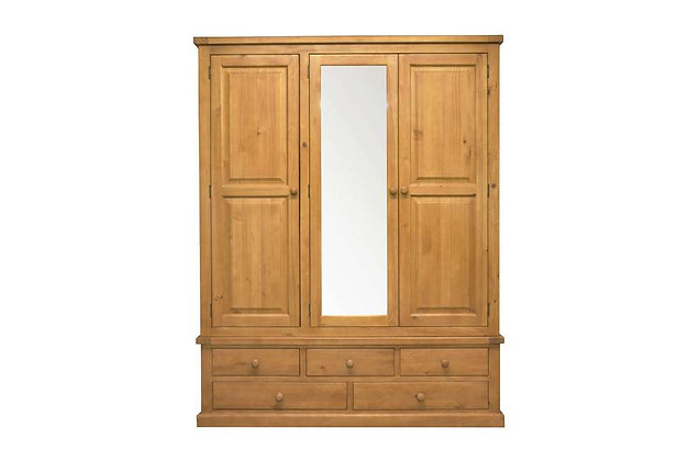 Budget Pine Large 3 Door Mirror Wardrobe