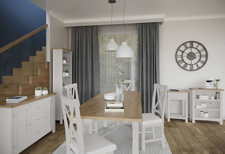 Boston Dining Room shown in Pebble Grey with Natural Oak Top
