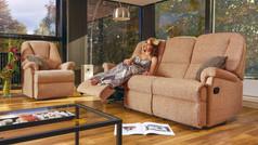 Sherborne Milburn 3 Seater Fabric Recliner Sofa & Small Armchair