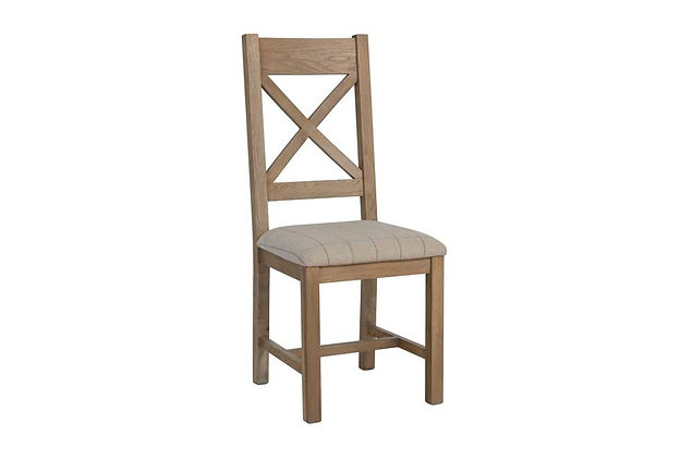 Toulouse Cross Back Dining Chair (Natural Check)
