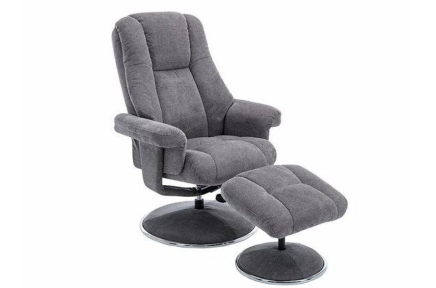Westbury Swivel Recliner Chair and Stool - Ash Grey