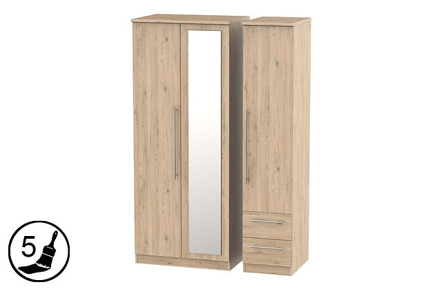 Milford 2 Small Drawer Triple Wardrobe with Mirror