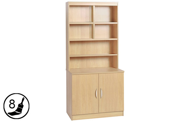 R White B-C85-OF – 2 Door Cupboard (850mm Wide) with Hutch