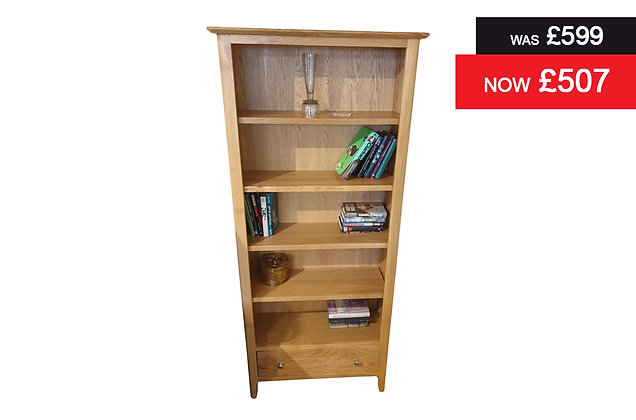Natural Oak Large Bookcase with Single Drawer