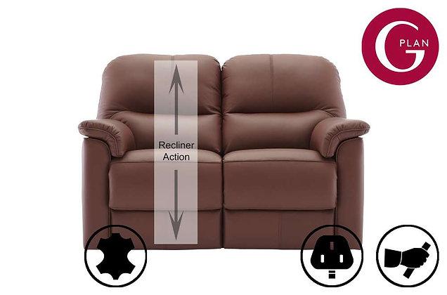 G Plan Chadwick Leather 2 Seater LHF Single Recliner Sofa