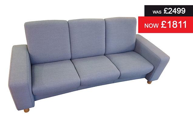 Stressless Arion 3 Seater Lowback Sofa - Silva Blue