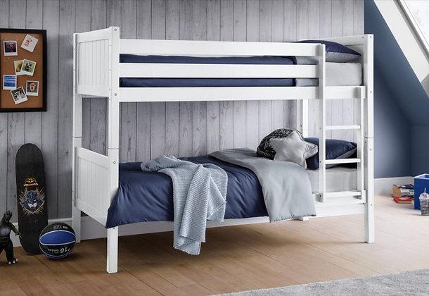 New England 90cm Single White Bunk Beds