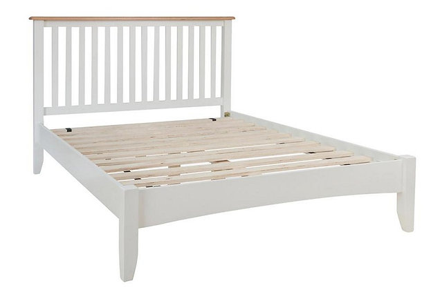 Jersey 135cm Double White and Oak Wooden Bedframe