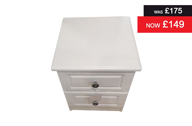 Clifton 2 Drawer Bedside Chest - White
