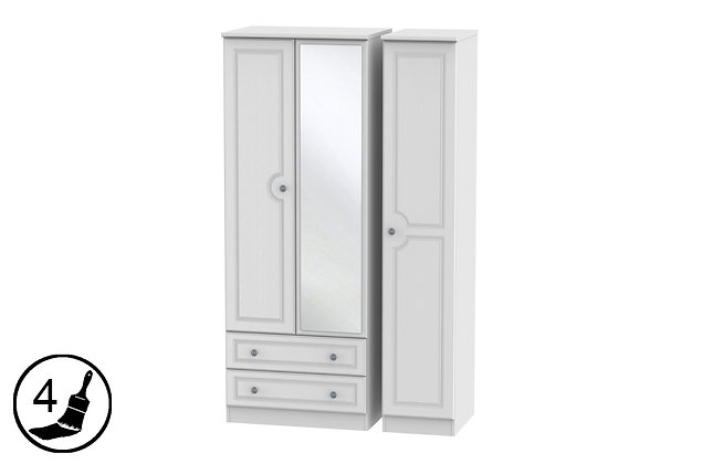 Clifton 2 Small Drawer Triple Wardrobe with Mirror