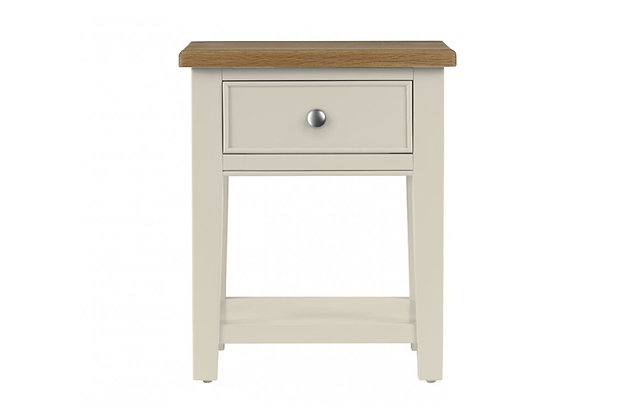 Somerdale Lamp Table – Ivory with Natural Top