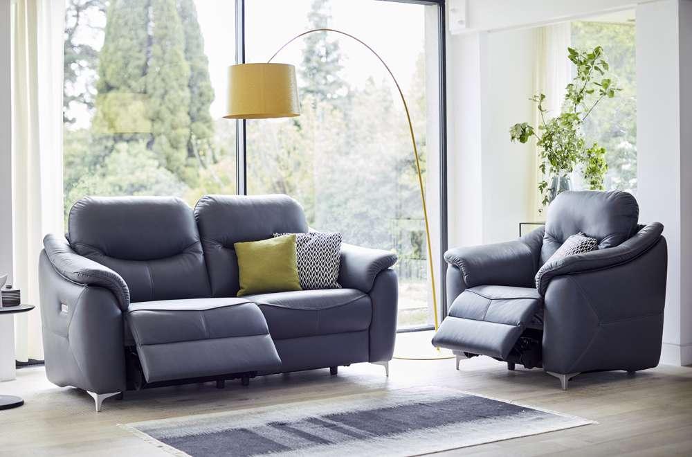 G Plan Jackson Leather Sofa & Chair