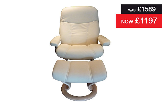 Stressless Consul Large Recliner Chair & Footstool - Batick Cream