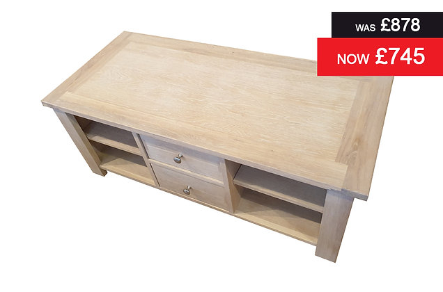 Tuscany Coffee Table with 2 Storage Drawers - Oak Finish