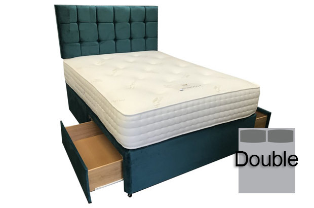 Cashmere Pocket 1000 Double 2 Drawer Divan Set with Free Headboard