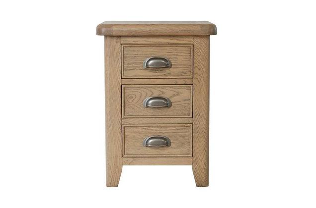 Manor Oak 3 Drawer Bedside Cabinet