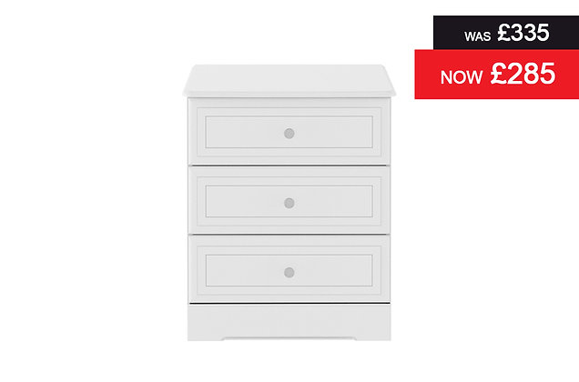 Nicole 3 Drawer Chest - White