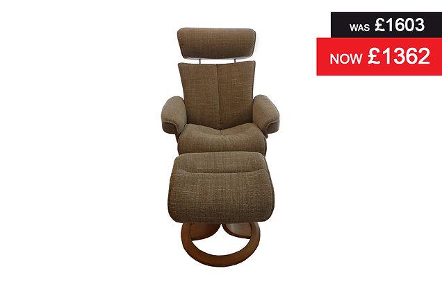 G Plan Bergen Large Chair & Stool - Beach Caramel