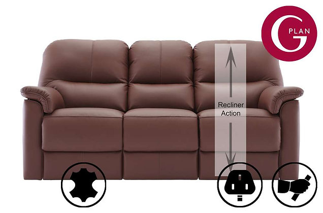 G Plan Chadwick Leather 3 Seater RHF Single Recliner Sofa