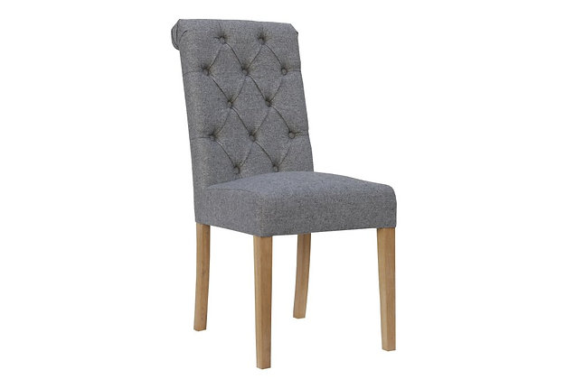 Scroll Top Dining Chair – Light Grey