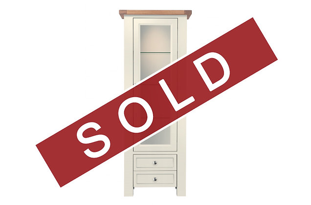 Bretagne 1 Door Display Cabinet – Ivory with Lacquered Top