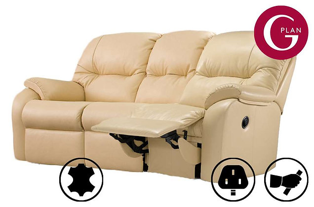 G Plan Mistral Leather 3 Seater Right Hand Facing Single Recliner Sofa