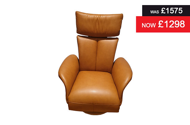 Northiam Small Swivel Power Recliner Chair - Cognac Semi Aniline Hide