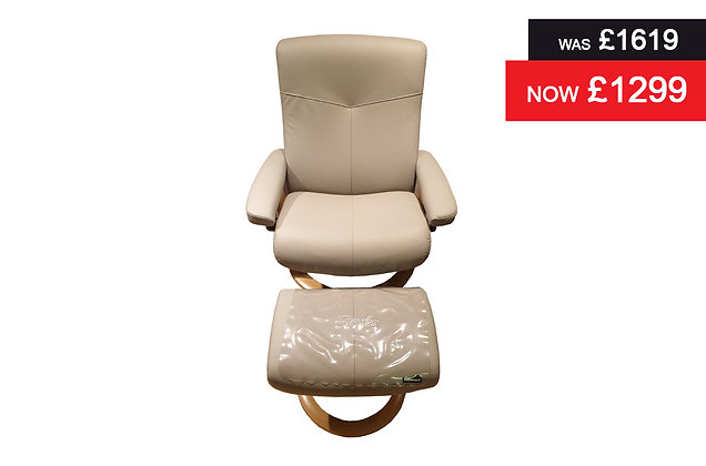 Stressless Dover Large Recliner Chair & Footstool - Batick Wild Dove