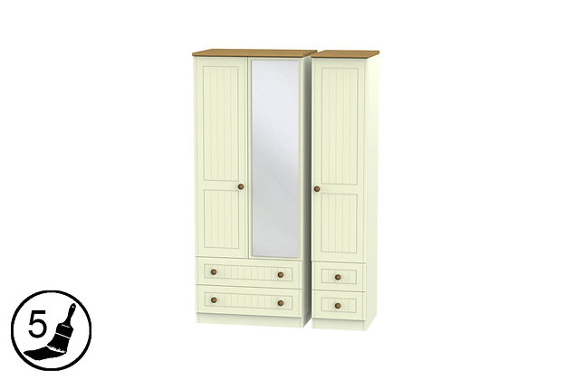 Solent 4 Drawer Triple Wardrobe with Mirror