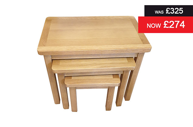 Medium Oak Nest of 3 Tables
