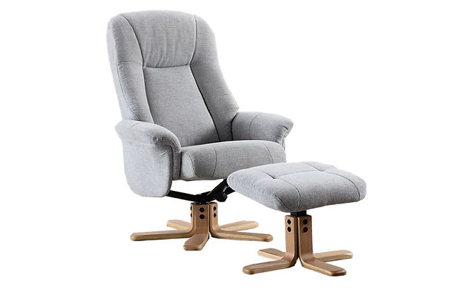 Bantham Swivel Recliner Chair and Stool – Silver