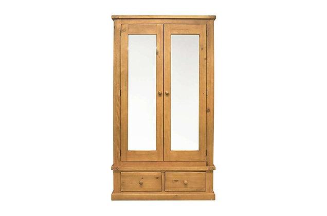 Budget Pine Large 2 Door Mirror Wardrobe