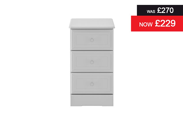 Nicole 3 Drawer Narrow Chest - Grey