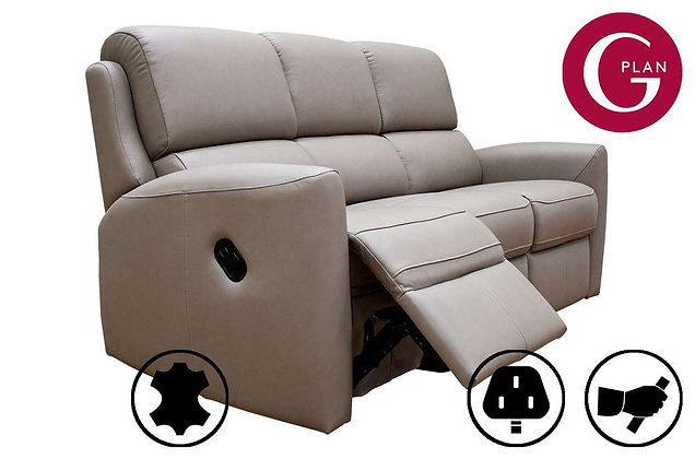 G Plan Hamilton Leather 3 Seater Recliner Sofa