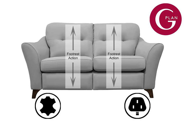G Plan Hatton Leather 2 Seater Standard Back Sofa With Power Foot Rest
