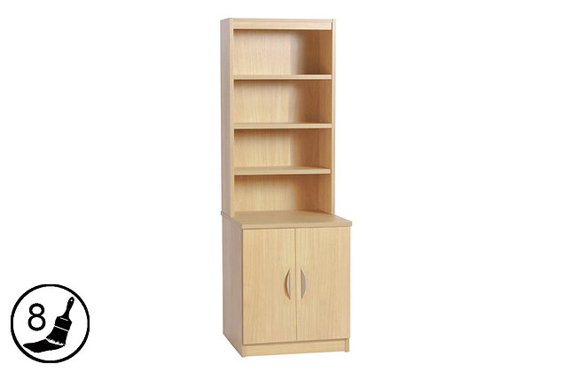 R White B-C60-OD – 2 Door Cupboard (600mm Wide) with Hutch