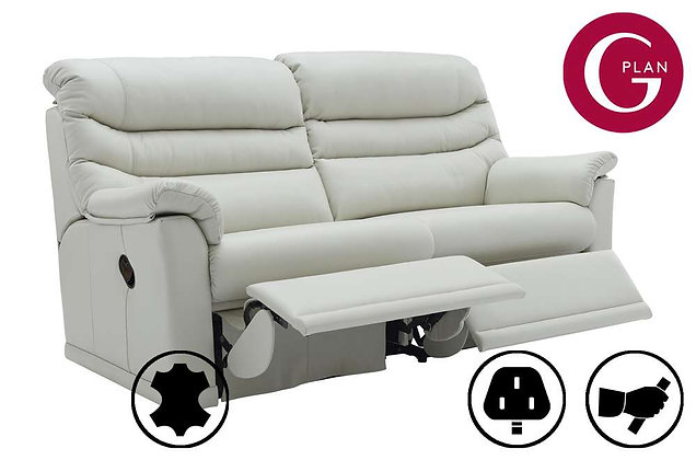 G Plan Malvern Leather 3 Seater (2 Cushion) Double Recliner Sofa