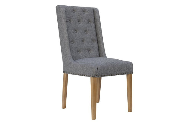 Winged Dining Chair – Light Grey