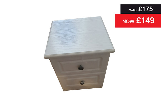 Clifton 2 Drawer Bedside - White
