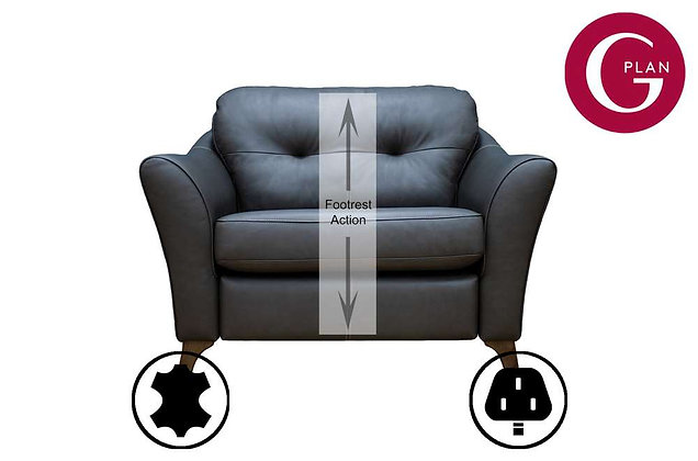 G Plan Hatton Leather Snuggler Sofa With Power Foot Rest