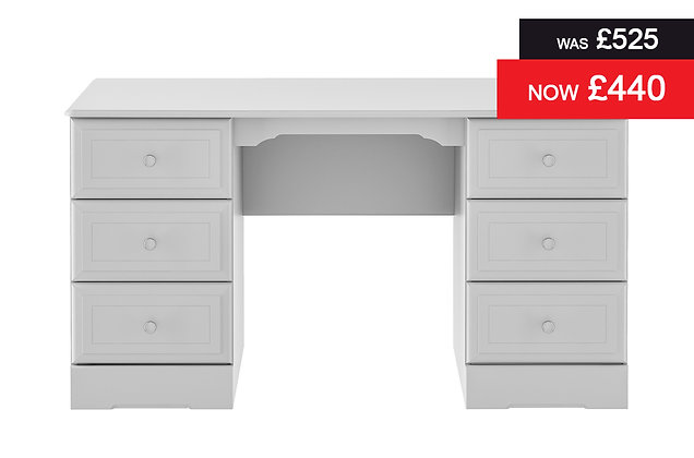 Nicole Double Pedestal Dressing Table - Grey