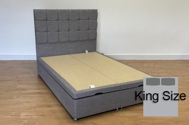 150cm King Size End Opening Ottoman Divan Base Balmoral Mid Grey