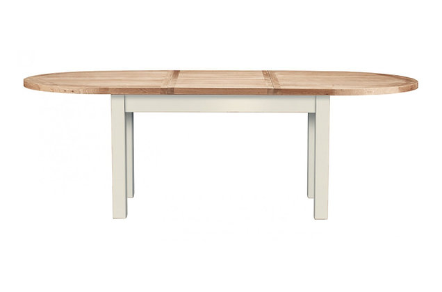 Bretagne 176cm Extending Oval Butterfly Dining Table – Ivory with Natural Top