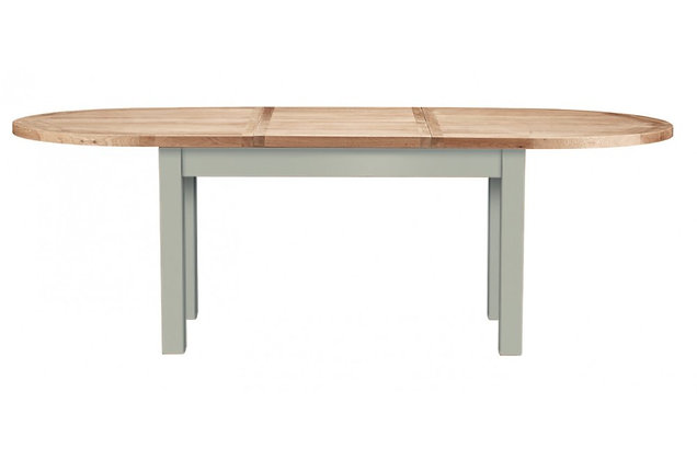 Bretagne Oval Extending Dining Table – Rockford Grey with Natural Top