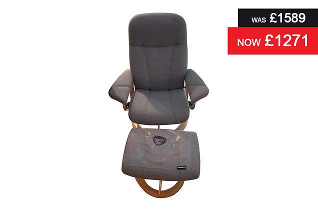 Stressless Consul Medium Chair & Footstool - Silva Blue