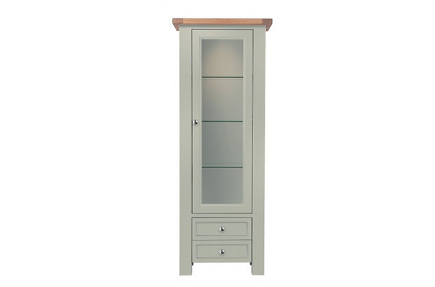 Bretagne 1 Door Display Cabinet – Rockford Grey with Lacquered Top