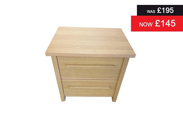 Oak 2 Drawer Bedside