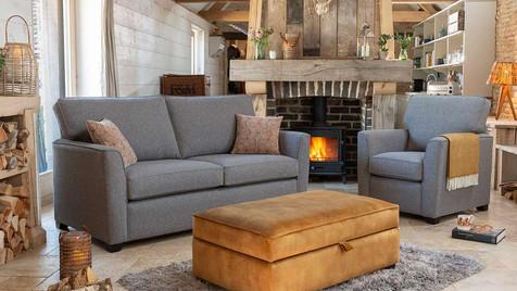 Zurich 3 Seater Sofa, Armchair & Ottoman